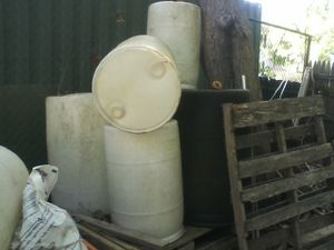 Large plastic drums used to collect rain water for Sale in Montville, NJ