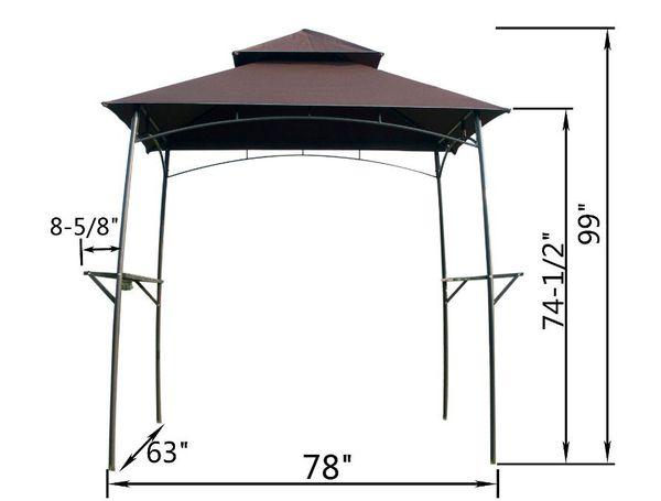 Outdoors BBQ Grill Gazebo Garden Metal Canopy Tent Party Sun Shade W/ Lights