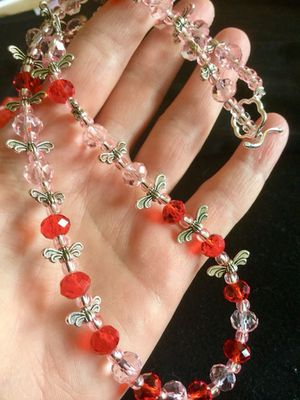 Fashion jewelry / silver butterflies and soft pink with red beaded necklace / Love Jewelry welcome to visit . 🛍🌿🌷🌿 for Sale in Alexandria, VA