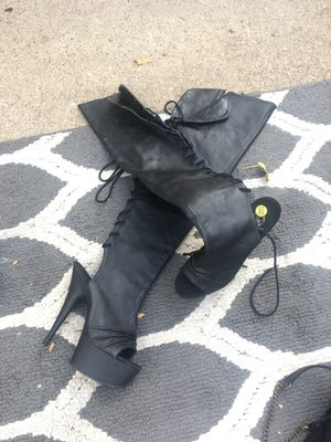 """Thigh high lace front boot 5"""" heel for Sale in Fort Worth, TX"""