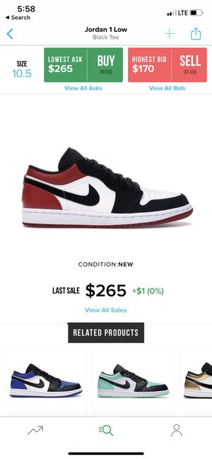 Jordan 1 low 'Black Toes' for Sale in Lake Worth, FL