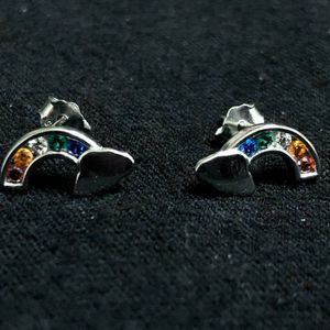 Sterling Silver Stud earrings / Rainbow for Sale in Sloan, NV
