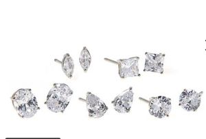 Absolute™ Sterling Silver Multi-Shaped 5-piece Stud Earrings Set for Sale in The Bronx, NY