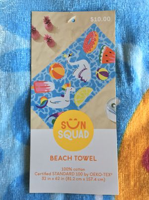 """(NEW) (1 LEFT) """"SUN SQUAD"""" BEACH/POOL TOWEL - 2 ft. 8 in. x 5 ft. 2 in. for Sale in Compton, CA"""