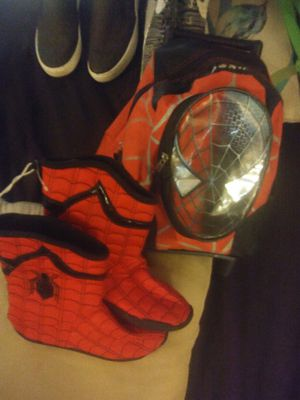 Spiderman rolling backpack and new slippers13/1 for Sale in Las Vegas, NV