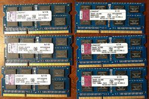 6 sticks of Kingston 4GB KVR1333D3S9/4G DDR3 1333MHz SODIMM LAPTOP MEMORY RAM for Sale in Franklin, NJ