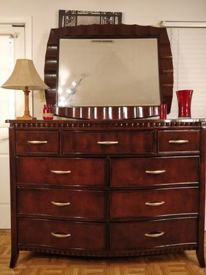 "Like new modern solid wood big AMERICAN SIGNATURE dresser/ TV stand with mirror and 9 drawers in great condition, all drawers sliding smoothly, 5"" for Sale in Annandale, VA"