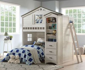 Tree House Weathered White/Washed Gray FINISH Twin Loft Bed SIDE BOOKCASE CHEST STORAGE for Sale in Santa Barbara, CA