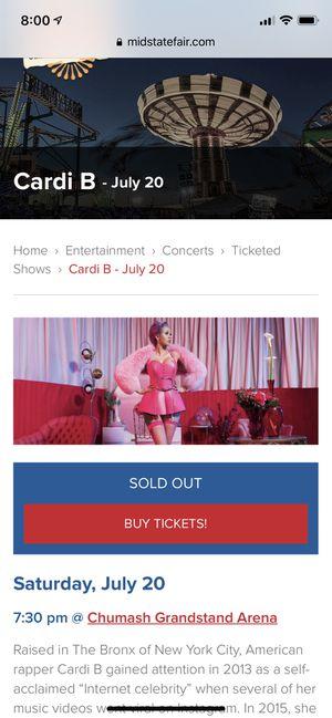 Cardi B- Ca midstate fair! 2 tix $300 total for Sale in Santa Maria, CA