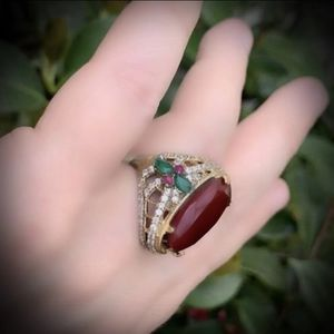 PIGEON BLOOD RED RUBY EMERALD FINE ART RING Size 8 Solid 925 Sterling Silver/Gold WOW! Brilliant Facet Oval/Pear/Round Gems, Diamond Topaz M9437 VS for Sale in San Diego, CA