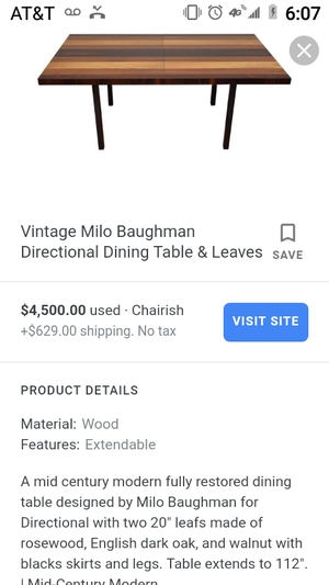 MCM Milo Baughman Directional Dining Table and Leaves for Sale in Portland, OR