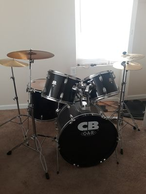 5 piece drum set with 3 cymbals and hi hats plus drum throne for Sale in Stockbridge, GA