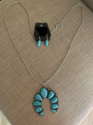 Teal with Silver long Necklace & matching earrings for Sale in Pico Rivera, CA