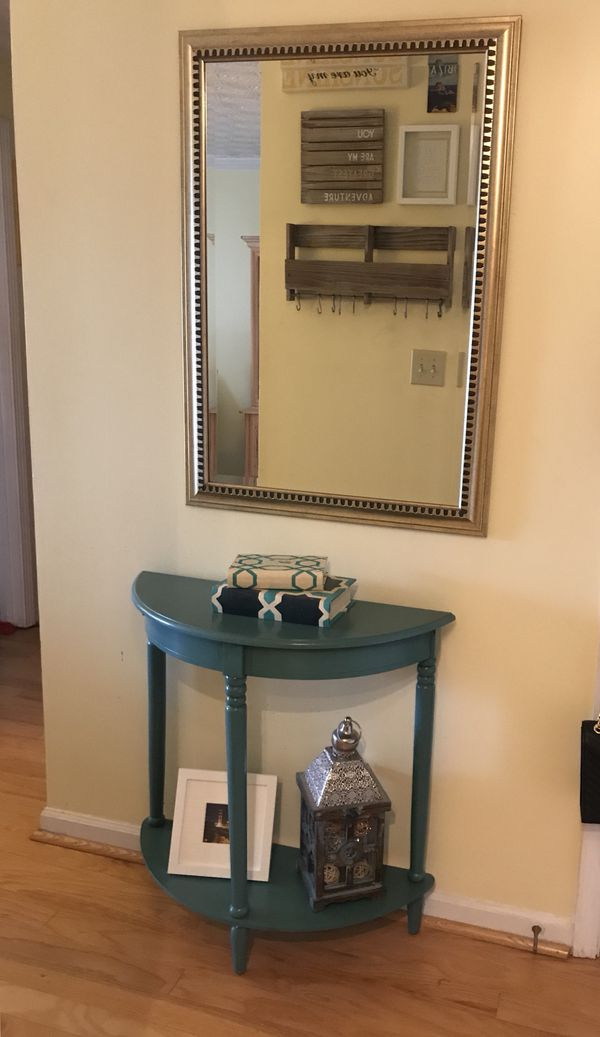 Blue Teal Console Table + Gold Mirror
