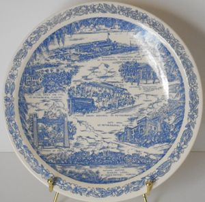 """Antique St. Petersburg, FL Blue Transferware Heavy Porcelain 10.5"""" Plate Made for Maas Brothers by Vernon Kilns for Sale in St. Petersburg, FL"""