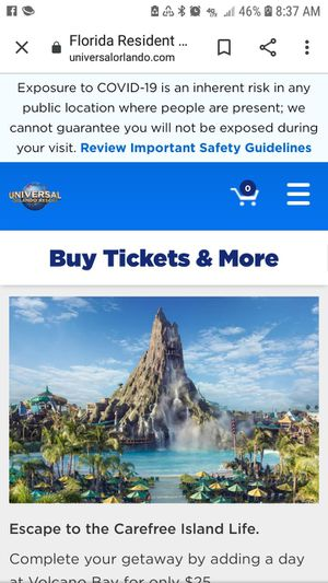 I need Universal Park to Park tickets for Sale in Tampa, FL