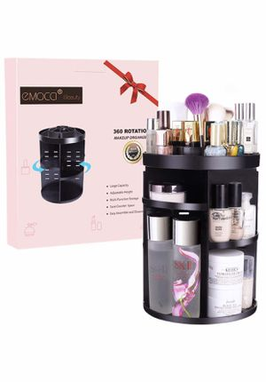 Brand new black Makeup Organizers 360 Rotating Adjustable Travel Cosmetic Storage Box Case Large Capacity Make Up Holder Vanity Shelf Fits Countertop for Sale in Arnold, MO