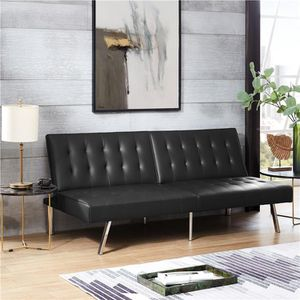 Beautiful black leather light quilted futon sofa split-back 3-position $179.99 for Sale in Phoenix, AZ
