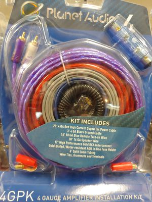 Amp kit : planet audio 4 Gauge amplifier installation kit ( 20 ft power cable 17 ft rca jack 30' 16g sp wire agu fuse holder ) for Sale in Bell Gardens, CA