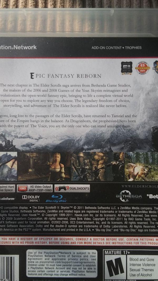 PS3 SKYRIM Video Game