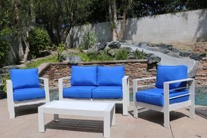 Outdoor Patio/Balcony Furniture Set- White/Azure Blue- 4 Piece Set for Sale in Newport Coast, CA
