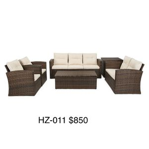 (2 colors) Brand New 6 PCs Patio Furniture Sofa Loveseat chair storage Table for Sale in Fullerton, CA