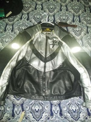 Full leather fully padded Suzuki motor cycle jacket size 54. for Sale in Upper Darby, PA