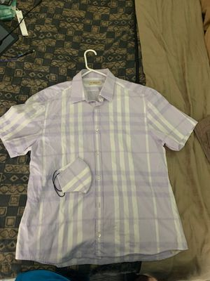 Matching Authentic Burberry Brit London Button Up Short Sleeve Men's Medium Shirt with Long Plaid Nova Check Face Mask Shorts Scarf $275 Retail for Sale in Hoboken, NJ