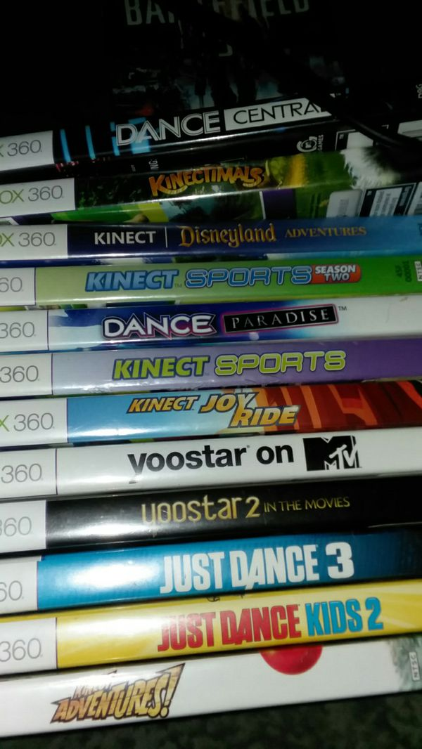Xbox 360 with Kinect, 2 controllers and Games