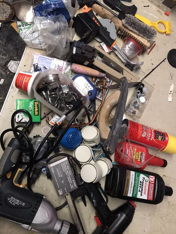 Handy man set lot closet misc tools, nail gun, oil, wheels, brush random stuff