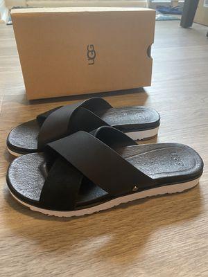 New Black Leather UGG Kari Slide Sandal, Size Womens 7.5 M for Sale in Lisle, IL
