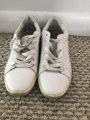 Zara White Leather Womens Sneakers Size 37 (7) for Sale for sale  Woodland Park, NJ