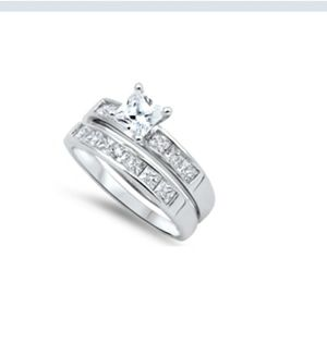 Sterling silver engagement wedding ring set in size 9 for Sale in Los Angeles, CA