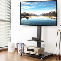 Tall Rolling Moblile Floor TV Stand Cart with Mount Lockable Caster Wheels and Audio Shelf for 37 40 42 47 50 55 60 65 70 inch TV for Sale in Ontario,  CA