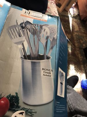 Stainless kitchen set. Brand new but box got destroyed. Utensils still in plastic covers and dishwasher safe for Sale in Alexandria, VA