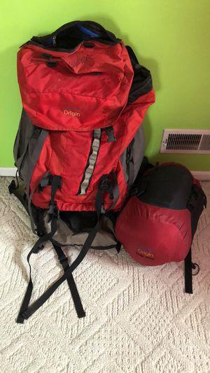 Camping backpack and sleeping bag for Sale in Waterbury, CT
