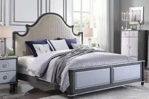 Two Tone Beige Fabric, Charcoal & Light Gray Finish CAL EASTERN KING SIZE BED / CAMA for Sale in Downey, CA