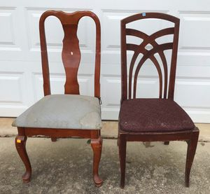 Lone Wood Queen Anne Dining Chair and Vintage Crisscrossed Wood Dining Chair for Sale in Parkville, MD