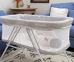 MiClassic All mesh 2in1 Stationary&Rock Bassinet One-Second Fold Travel Crib Portable Newborn Baby for Sale in Azusa, CA