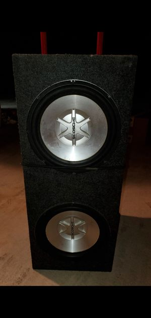 """SCOSCHE SPEAKERS & BOX, (2) 12"""" They were in my Explorer, IT ALL WORKS & SOUNDS GREAT, EVERYTHING for $175, .....OBO, ITS IN MY WAY for Sale in Douglasville, GA"""