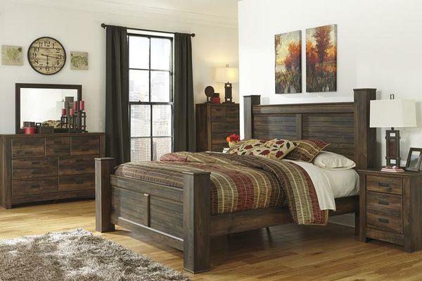 🍃good price🍃Quinden Dark Brown Poster Bedroom Set | B246
