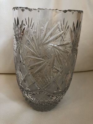 Tall European Crystal Hand-Cut Vase for Sale in Herndon, VA