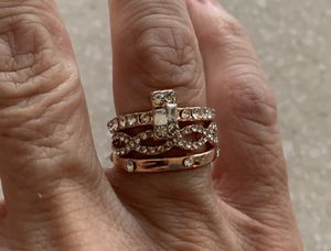 New 3 piece CZ rose gold filled wedding ring size 7 for Sale in Inverness, IL