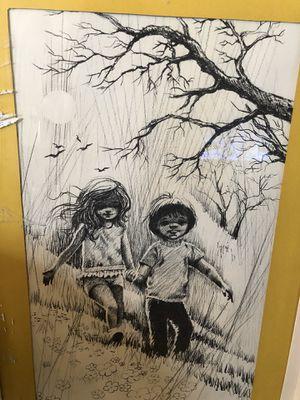 Original Ozz Franca Charcoal Sketch Canvas Art Rare Find for Sale in Pico Rivera, CA