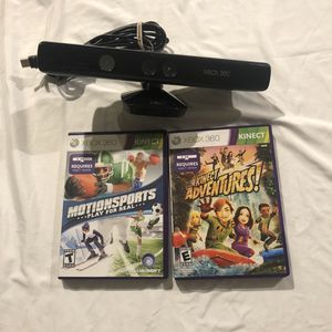 XBOX 360 KINECT BUNDLE W/ 2 GAMES for Sale in Dallas, TX