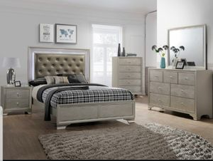BRAND NEW 4 PC TWIN FULL QUEEN SIZE BEDROOM SET BED DRESSER MIRROR NIGHTSTAND NEW FURNITURE ADD MATTRESS AVAILABLE USA MEXICO FURNITURE for Sale in Pomona, CA