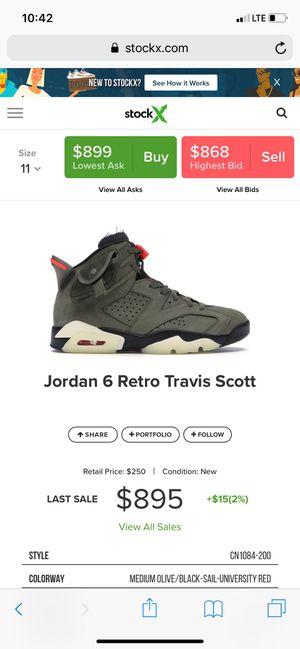 "Jordan retro 6's ""Travis Scott"" for Sale in Tualatin, OR"