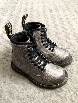Toddler girl Dr. Martens 1460 Delaney Coated Glitter boots retail $65 size 8 Excellent condition! Lace-Up Boots. Sliver glitter super cute! The Delan for Sale in Washington, DC