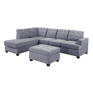 L Shape Sectional 6-7 seater Sofa Set with Storage Ottoman and 2 cup holders, Left Hand Facing Chaise, Gray Color, Linen Upholstery Material. for Sale in Santa Clara, CA