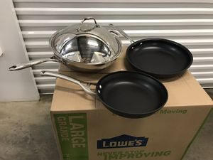 Wok (stainless steel) And Two Non-Stick Pans for Sale in Miami, FL